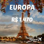 Promoção de passagens aéreas para a EUROPA!!! A partir de R$ 1.470, ida e volta! Saídas de várias cidades do Brasil!