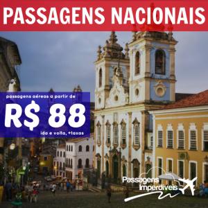 Passagens Nacionais a partir de 88 reais
