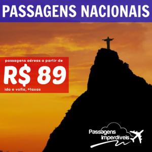 Passagens nacionais a partir de R$ 89 ida e volta