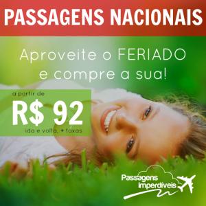 Passagens Nacionais a partir de R$ 92
