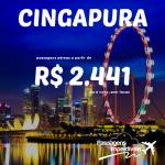 Promoção de passagens para <b>CINGAPURA</b>, a partir de R$ 2.441, ida e volta! Saídas do Rio de Janeiro e de São Paulo!