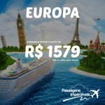 A promoção de passagens para a EUROPA continua! A partir de R$ 1.579, ida e volta! Paris, Londres, Atenas, Dublin, Praga e muito mais!