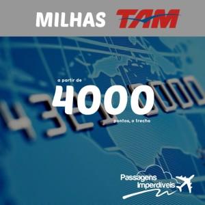 Milhas reduzidas na TAM! Trechos nacionais a partir de 4.000 pontos, para voar no mês de agosto/2014!