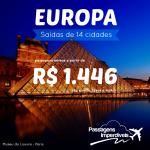 Promoção de passagens para a <b>EUROPA</b>, com saídas de 14 cidades brasileiras! A partir de R$ 1.446, ida e volta, com datas até Março/2015!