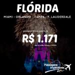 Promoção de passagens para a <b>FLÓRIDA</b>: <b>MIAMI</b>, <b>ORLANDO</b> e mais! A partir de R$ 1.171, ida e volta!