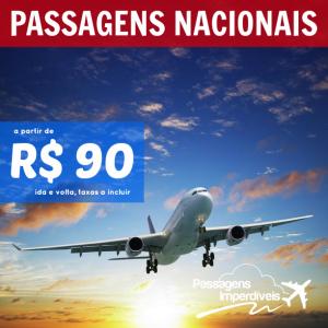 Promoção de <b>PASSAGENS NACIONAIS</b>! A partir de R$ 90, ida e volta!