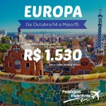 Promoção de passagens para a <b>EUROPA</b>! A partir de R$ 1.530, ida e volta, de Outubro/14 e Maio/15, inclusive <b>Réveillon, Férias de Janeiro e Carnaval</b>!