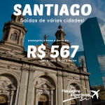 Seleção das melhores passagens disponíveis para o <b>CHILE</b>! Viaje para <b>SANTIAGO</b>, pagando a partir de R$ 567, ida e volta! Saídas de várias cidades!