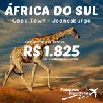 Promoção de passagens para <b>JOANESBURGO ou CAPE TOWN</b>! Viaje para a <b>África do Sul</b> pagando a partir de R$ 1.825, ida e volta! Saídas de várias cidades!