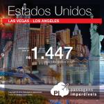Passagens em promoção para os <b>ESTADOS UNIDOS</b>: <b>LAS VEGAS</b> ou <b>LOS ANGELES</b>, a partir de R$ 1.447, ida e volta! Saídas de 32 cidades, para viajar até <b>MAIO/15</b>!