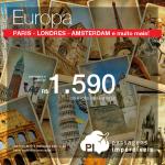 Promoção de passagens para a <b>EUROPA</b>: Paris, Londres, Amsterdam, Barcelona, Lisboa, Zurique e mais! A partir de R$ 1.590, ida e volta! Saídas de <b>várias cidades brasileiras</b>, até <b>Maio/15</b>!