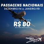 Procurando <b>PASSAGENS NACIONAIS</b> para viajar em <b>DEZEMBRO</b> ou <b>JANEIRO</b>? Aproveite a promoção do final de semana, com passagens a partir de R$ 80, ida e volta!
