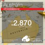 Viaje para a <b>AUSTRÁLIA</b> com uma das melhores cias. aéreas do mundo! Passagens para <b>Sydney, Brisbane, Melbourne ou Perth</b>, a partir de R$ 2.870, ida e volta, até Novembro/15!