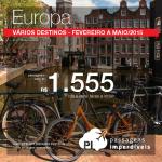 Promoção de passagens para a <b>EUROPA</b> e alguns de seus destinos mais desejados: <b>Amsterdam, Madri, Barcelona, Ibiza e mais!</b> A partir de R$ 1.555, ida e volta, para viajar até Maio/2015!
