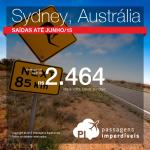 Promoção para a <b>AUSTRÁLIA</b>! Passagens para <b>SYDNEY</b>, a partir de R$ 2.464, ida e volta!