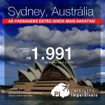 <b>PROMOÇÃO RELÂMPAGO</b>!!! As passagens para a <b>AUSTRÁLIA</b> estão ainda mais baratas! Vá para <b>Sydney</b>, pagando a partir de R$ 1.991, ida e volta!