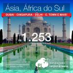 Passagens em promoção para a <b>ÁSIA</b> ou <b>ÁFRICA DO SUL</b>: Abu Dhabi, Bombaim, Cape Town, Delhi, Dubai, Cingapura e muito mais! A partir de R$ 1.253, ida e volta!