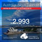 Passagens para a <b>AUSTRÁLIA</b> ou <b>NOVA ZELÂNDIA</b>! Saídas de 32 cidades brasileiras, a partir de R$ 2.993, ida e volta!