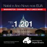 Passagens para o <b>NATAL</b> e o <b>ANO NOVO</b> nos <b>ESTADOS UNIDOS</b>: Chicago, Denver, Detroit, Salt Lake City, Washington e mais! A partir de R$ 1.201, ida e volta!