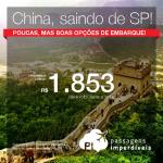 Passagens em promoção para a <b>CHINA</b>! Vá para Pequim, saindo de São Paulo, a partir de R$ 1.853, ida e volta, a partir de R$ 2.281, ida e volta, COM TAXAS!