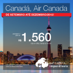 Passagens da <b>AIR CANADA</b> para Vancouver, Toronto, Quebec, Ottawa, Montreal ou Calgary! A partir de R$ 1.560, ida e volta; a partir de R$ 1.840, ida e volta, COM TAXAS INCLUÍDAS!