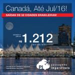Quer viajar para o <b>CANADÁ</b>? Aproveite a promoção de passagens até Julho/2016 – inclusive Feriados, Natal, Ano Novo, Férias – com valores a partir de R$ 1.212, ida e volta; a partir de R$ 1.793, ida e volta, COM TAXAS INCLUÍDAS!