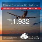 Seleção de passagens em <b>CLASSE EXECUTIVA</b>, a partir de R$ 1.932, ida e volta! Cancun, Cartagena, Cid. do México, Havana, San Andrés, San José, San Juan ou Santiago! Datas até Nov/2016!