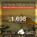 Passagens dos <b>ESTADOS UNIDOS</b> para o <b>BRASIL</b> com opções de <b>VOO DIRETO</b>: De Nova York para o Rio de Janeiro, a partir de R$ 1.698, ida e volta (400 US$) ; a partir de R$ 2.269, ida e volta (US$ 545), COM TAXAS INCLUÍDAS!
