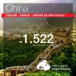 IMPERDÍVEL!!! Promoção de Passagens para <b>China: Pequim, Xangai</b>! A partir de R$ 1.522, ida e volta; a partir de R$ 1.978, ida e volta, COM TAXAS INCLUÍDAS!