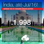 Promoção de Passagens para a <b>ÍNDIA</b>: Bombaim – Mumbai, Delhi! A partir de R$ 1.998, ida e volta; a partir de R$ 2.470, ida e volta, COM TAXAS INCLUÍDAS!