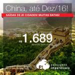 Promoção de Passagens para a <b>CHINA</b>: Pequim, Xangai, Hong Kong</b>! A partir de R$ 1.689, ida e volta; a partir de R$ 2.154, ida e volta, COM TAXAS INCLUÍDAS!