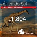 Continua! Passagens para <b>África do Sul</b>: Cape Town ou Joanesburgo! A partir de R$ 1.804, ida e volta; R$ 2.206, ida e volta, COM TAXAS! Opções de voo direto pela LATAM!