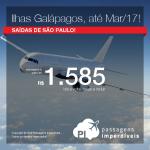 Promoção de Passagens para o <b>Equador: ILHAS GALÁPAGOS</b>! A partir de R$ 1.585, ida e volta; a partir de R$ 2.133, ida e volta, COM TAXAS INCLUÍDAS! Datas até Março/2017!