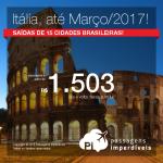 Promoção de Passagens para a <b>Itália: Florença, Milão, Roma, Veneza</b>! A partir de R$ 1.503, ida e volta; a partir de R$ 2.076, ida e volta, COM TAXAS INCLUÍDAS, em até 10x sem juros!