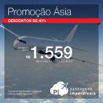 IMPERDÍVEL!!! Passagens da <b>Etihad</b> para muitos destinos da Ásia por menos de R$ 1.600, ida e volta, COM TAXAS INCLUÍDAS! Excelentes opções também para a Oceania!