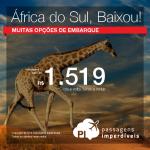 Promoção de Passagens para <b>África do Sul: Cape Town, Durban, Joanesburgo</b>! A partir de R$ 1.519, ida e volta; a partir de R$ 1.971, ida e volta, COM TAXAS INCLUÍDAS!
