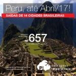 Promoção de Passagens para o <b>Peru: Cusco, Lima</b>! A partir de R$ 657, ida e volta; a partir de R$ 1.015, ida e volta, COM TAXAS INCLUÍDAS, em até 10x sem juros!