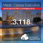 Passagens em <b>CLASSE EXECUTIVA</b> para a <b>Espanha: Madri</b>, por R$ 3.118, ida e volta, COM TODAS AS TAXAS INCLUÍDAS, em até 5x sem juros!