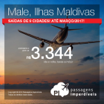 Promoção de Passagens para <b>Male, Ilhas Maldivas</b>! A partir de R$ 3.344, ida e volta; a partir de R$ 4.248, ida e volta, COM TAXAS INCLUÍDAS, em até 10x sem juros!