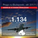 Promoção de Passagens para <b>Budapeste ou Praga</b>, com datas até 2017! A partir de R$ 1.134, ida e volta; a partir de R$ 1.672, ida e volta, COM TAXAS INCLUÍDAS, em até 5x sem juros!