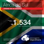 Promoção de Passagens para <b>África do Sul: Cape Town, Durban, Joanesburgo</b>! A partir de R$ 1.534, ida e volta; a partir de R$ 1.904, ida e volta, COM TAXAS INCLUÍDAS!