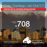 Promoção de Passagens para o <b>Chile: Santiago</b>, saindo de 32 cidades brasileiras! A partir de R$ 708, ida e volta; a partir de R$ 1.040, ida e volta, COM TAXAS INCLUÍDAS, em até 4x sem juros! Datas até Outubro/2017!