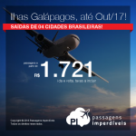 Promoção de Passagens para as <b>Ilhas Galápagos</b>! A partir de R$ 1.721, ida e volta; a partir de R$ 2.274, ida e volta, COM TAXAS INCLUÍDAS, em até 10x sem juros! Saídas de 4 cidades, com datas até Out/17!