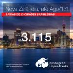 Promoção de Passagens para a <b>Nova Zelândia: Auckland, Christchurch, Dunedin, Queenstown, Wellington</b>! A partir de R$ 3.115, ida e volta; a partir de R$ 3.735, ida e volta, COM TAXAS INCLUÍDAS! Datas até Ago/2017!