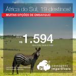 Promoção de Passagens para <b>19 destinos na África do Sul</b>! A partir de R$ 1.594, ida e volta; a partir de R$ 2.052, ida e volta, COM TAXAS INCLUÍDAS!