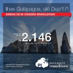 Promoção de Passagens para as <b>ILHAS GALÁPAGOS</b>! A partir de R$ 2.146, ida e volta, COM TAXAS INCLUÍDAS, em até 10x sem juros! Saídas de 06 cidades brasileiras, com datas até Dezembro/2017!
