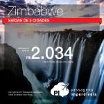Passagens para <b>Zimbabwe: Harare, Victoria Falls</b>! A partir de R$ 2.034, ida e volta, COM TAXAS INCLUÍDAS!