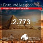 Passagens para o <b>Egito: Cairo</b>, com datas até Março/2018! Opções para voar pela QATAR! A partir de R$ 2.773, ida e volta, COM TAXAS INCLUÍDAS, em até 5x sem juros!