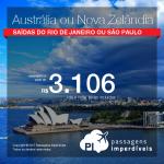 CONTINUA!!! Passagens em promoção para a Austrália ou Nova Zelândia: Auckland; Brisbane; Christchurch; Melbourne; Queenstown; Sydney ou Wellington, com valores a partir de R$ 3.106, ida e volta, C/ TAXAS! Até Abril/18!