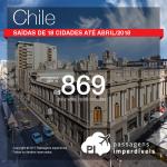 Seleção de Passagens para o <b>Chile: Santiago</b>! A partir de R$ 869, ida e volta, COM TAXAS INCLUÍDAS! Saídas de 18 cidades! Datas até Abril/18, incluindo feriados!